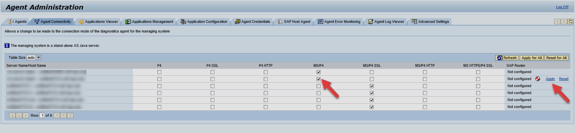 Connectivity in solution manager 72 sap solution manager setup open the agent connectivity tab and change the check box from msp4 to msp4 ssl or vice versa for any diagnostics agent and click on apply 1betcityfo Images
