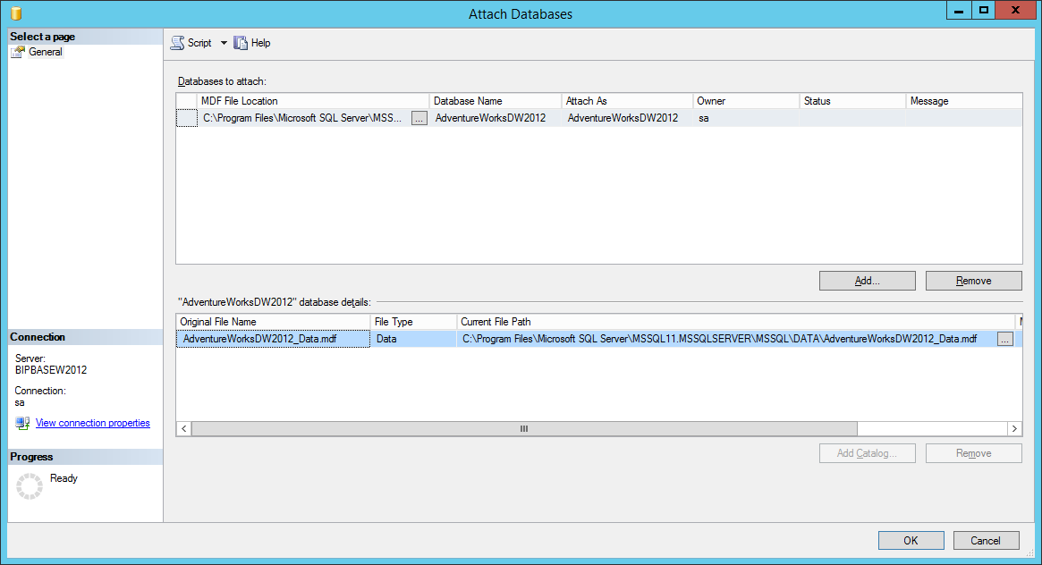 How to install the sample AdventureWorks database onto SQL