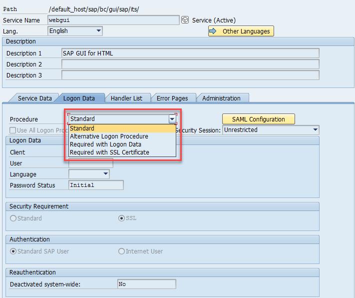 ICF logon procedures configuration for SAML 2 0