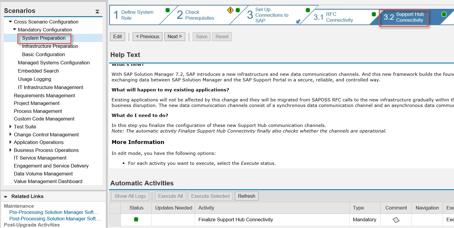 How to configure Step 'Support Hub Connectivity' in Solution Manager