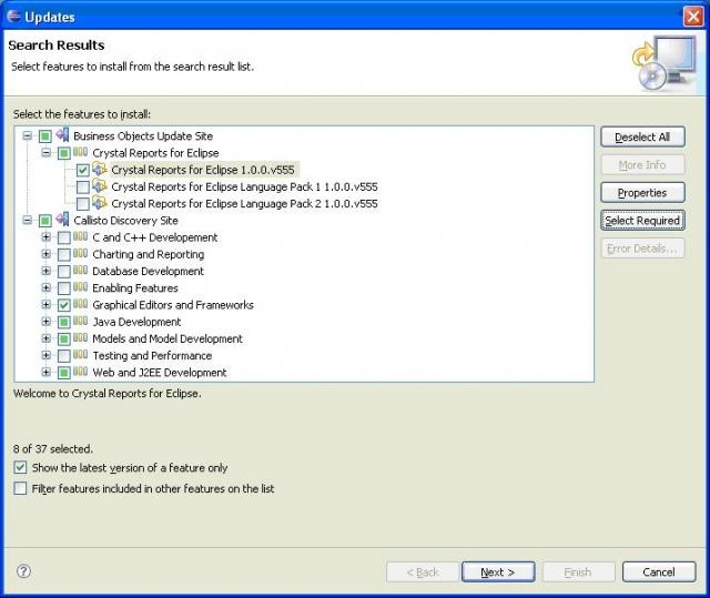 Download and Install Crystal Reports for Eclipse via the Update