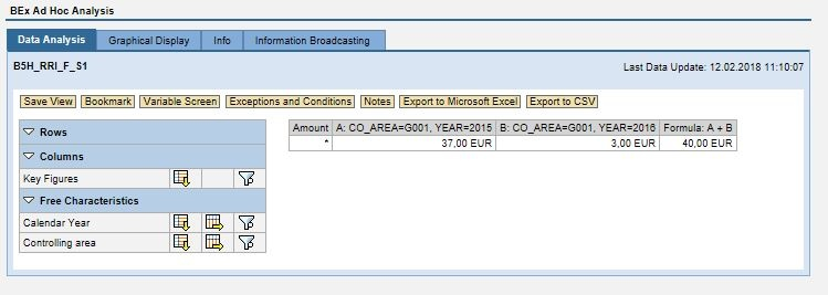 Example: Filter handover when jumping from a formula cell - SAP