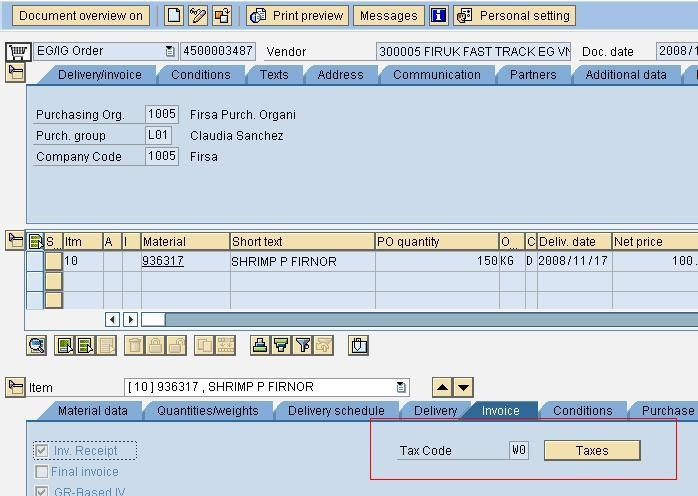 Function Module to Calculate Tax in Purchase order based on