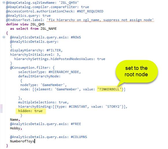 Set a hierarchy node filter in a CDS query - SAP NetWeaver