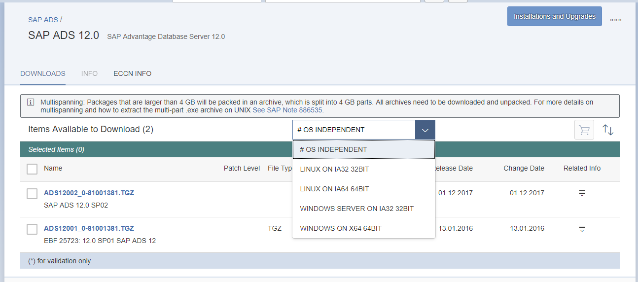 SAP Advantage Database Server version 12 SP2 available for download
