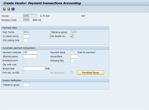 Table BSIP   Fields  Check Invoice