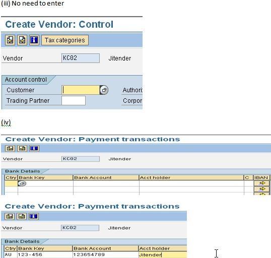 how to create vendor in sap