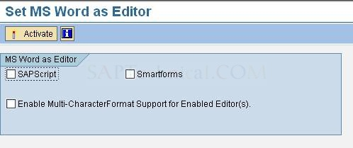How to use MS Word as Editor in SAP Script and Smart Forms