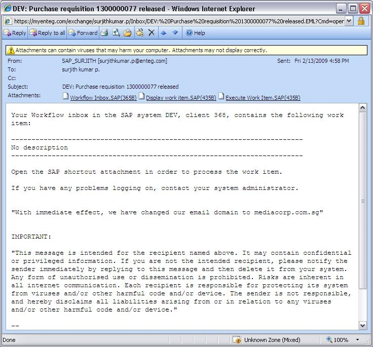 Work Item intimation in the Email - ABAP Development - SCN Wiki